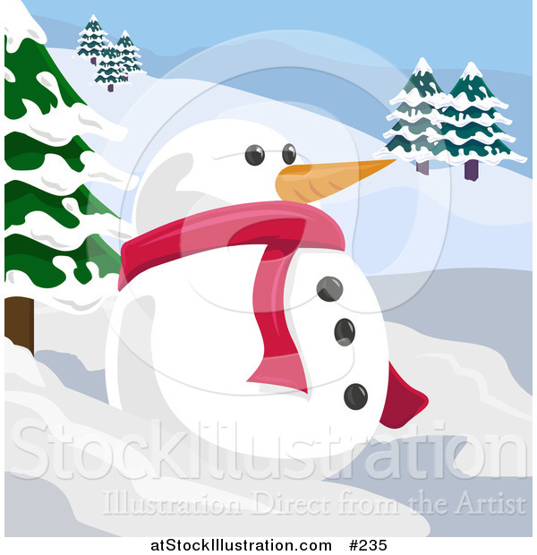 Vector Illustration of a Snowman with a Carrot Nose in a Winter Landscape