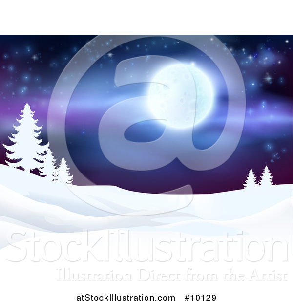 Vector Illustration of a Snowy Winter Landscape with Silhouetted Evergreen Trees and a Full Moon in a Starry Sky