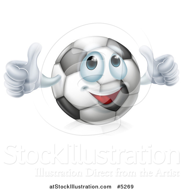 Vector Illustration of a Soccer Ball Character Giving Two Thumbs up