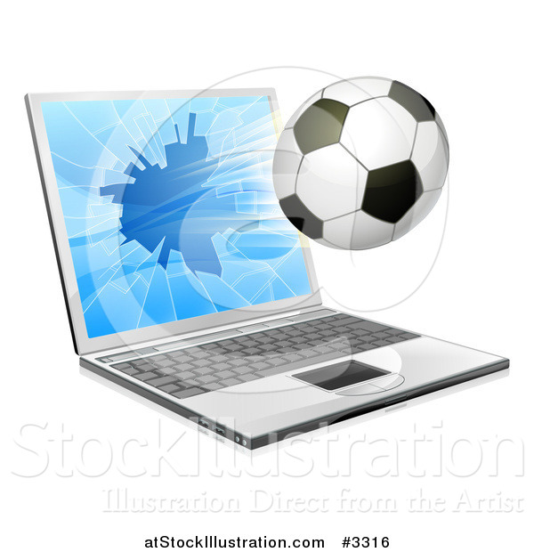 Vector Illustration of a Soccer Ball Flying Through and Shattering a 3d Laptop Screen