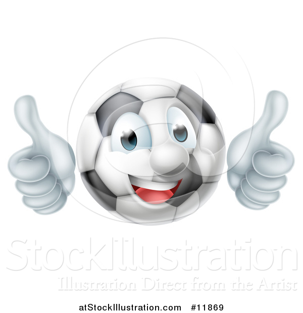 Vector Illustration of a Soccer Ball Mascot Character Giving Two Thumbs up