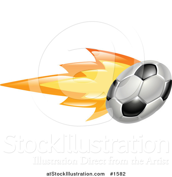 Vector Illustration of a Soccer Ball on Fire
