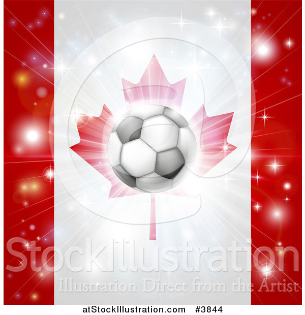 Vector Illustration of a Soccer Ball over a Canadian Flag with Fireworks