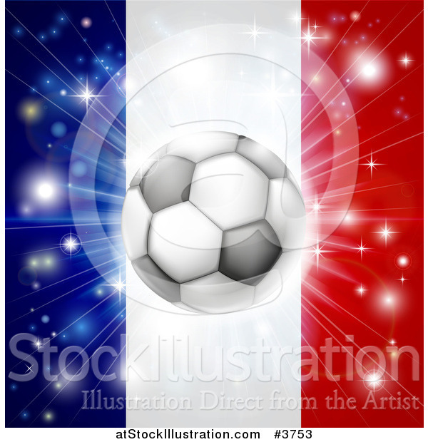 Vector Illustration of a Soccer Ball over a France Flag with Fireworks