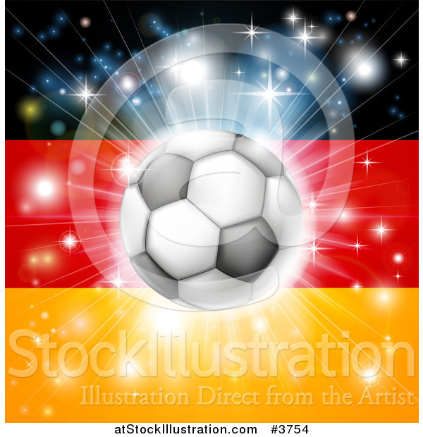 Vector Illustration of a Soccer Ball over a German Flag with Fireworks