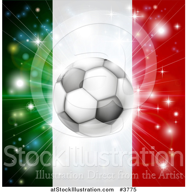Vector Illustration of a Soccer Ball over a Italy Flag with Fireworks
