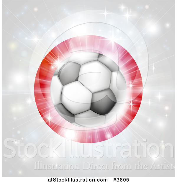 Vector Illustration of a Soccer Ball over a Japanese Flag with Fireworks