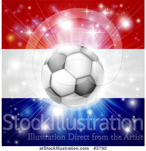 Vector Illustration of a Soccer Ball over a Netherlands Flag with Fireworks