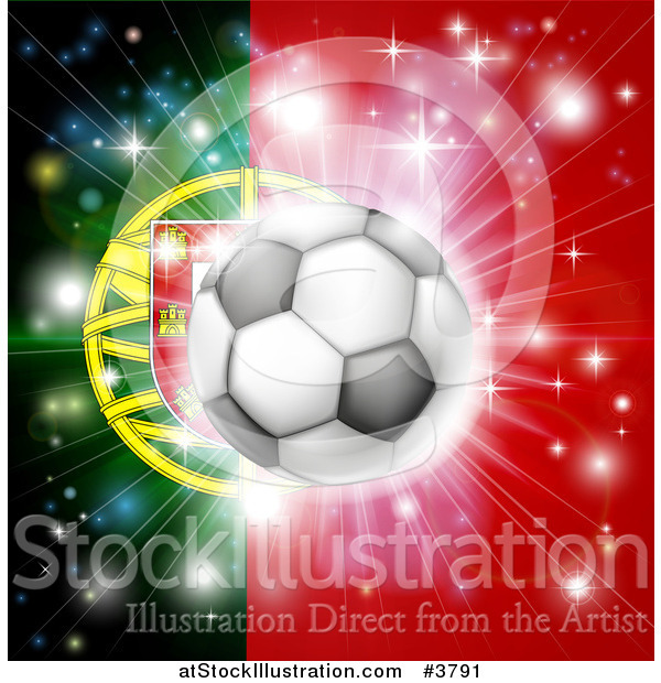Vector Illustration of a Soccer Ball over a Portugal Flag with Fireworks