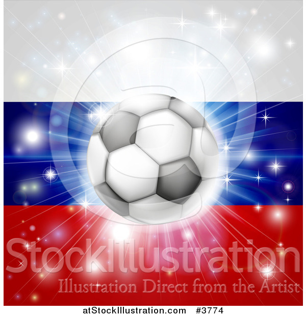 Vector Illustration of a Soccer Ball over a Russian Flag with Fireworks