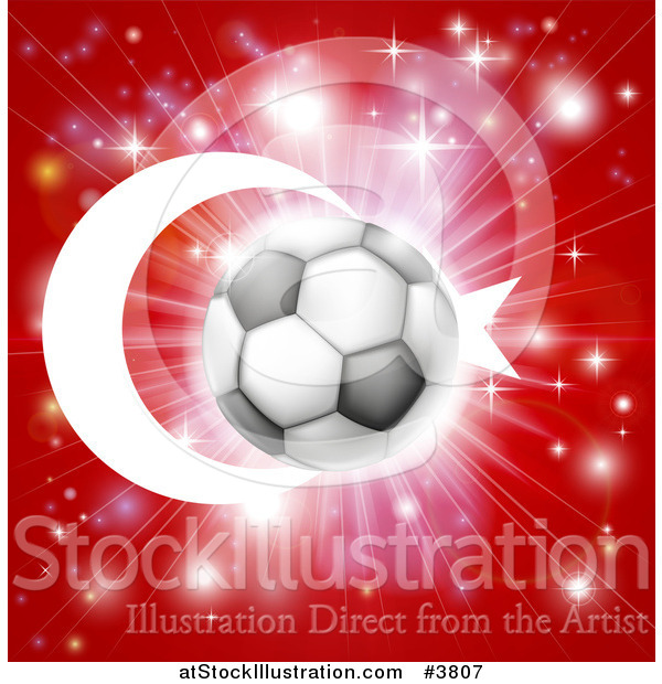 Vector Illustration of a Soccer Ball over a Turkey Flag with Fireworks