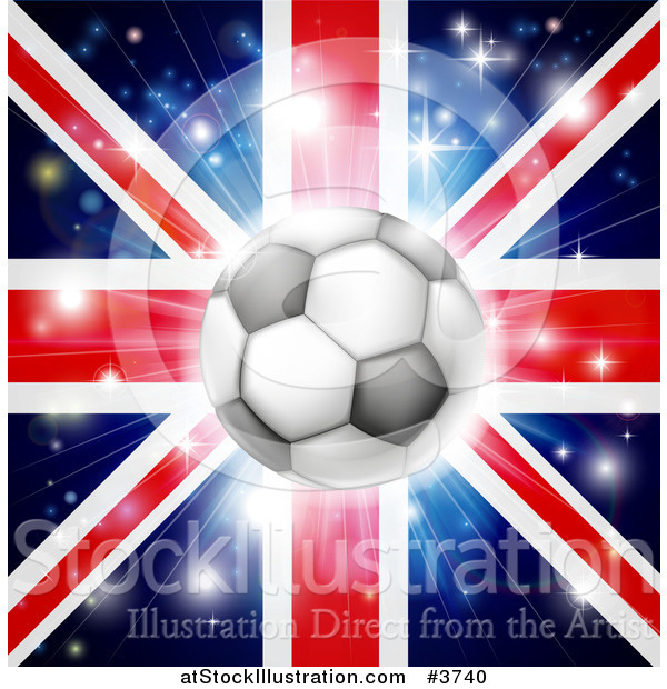 Vector Illustration of a Soccer Ball over a Union Jack with Fireworks