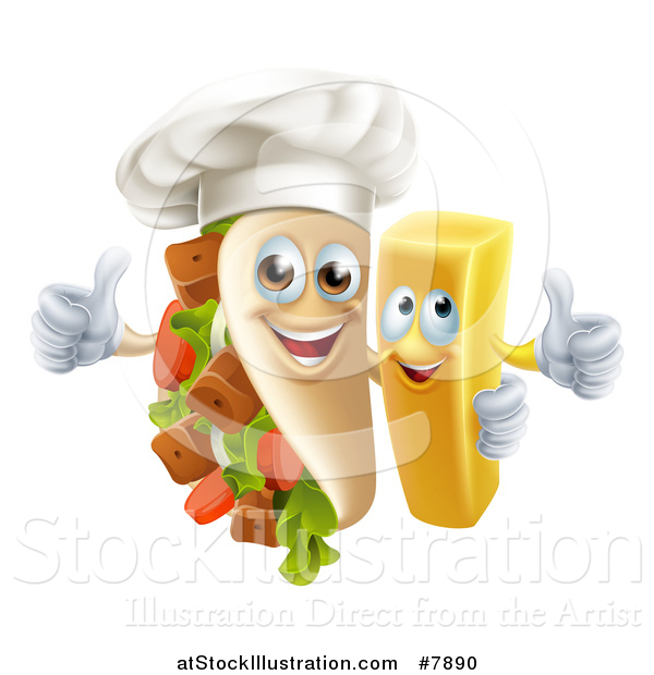 Vector Illustration of a Souvlaki Kebab Sandwich Chef Mascot and French Fry Character Giving Thumbs up
