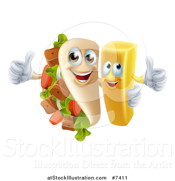Vector Illustration of a Souvlaki Kebab Sandwich Mascot and French Fry Character Giving Thumbs up