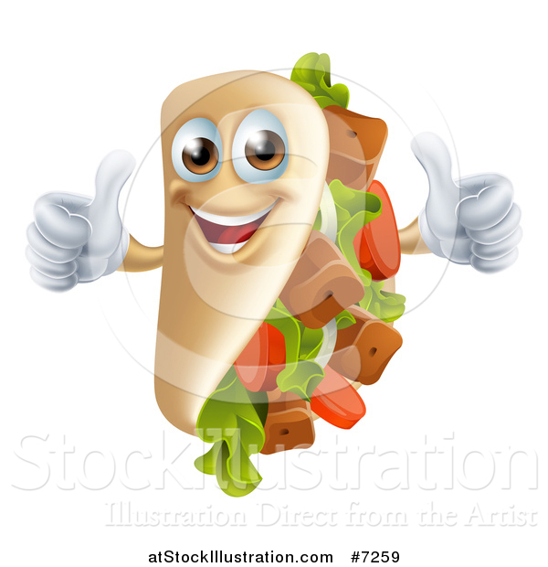Vector Illustration of a Souvlaki Kebab Sandwich Mascot Giving Two Thumbs up