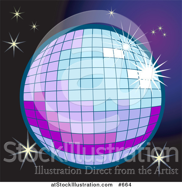 Vector Illustration of a Sparkling Disco Ball