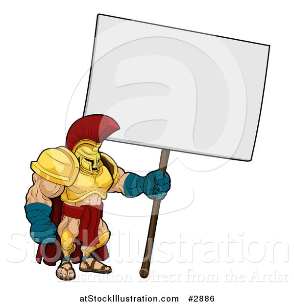 Vector Illustration of a Spartan Trojan Soldier Standing with a Blank Sign