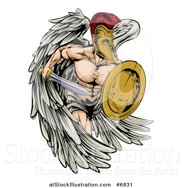 Vector Illustration of a Spartan Trojan Warrior Angel Running with a Sword and Shield