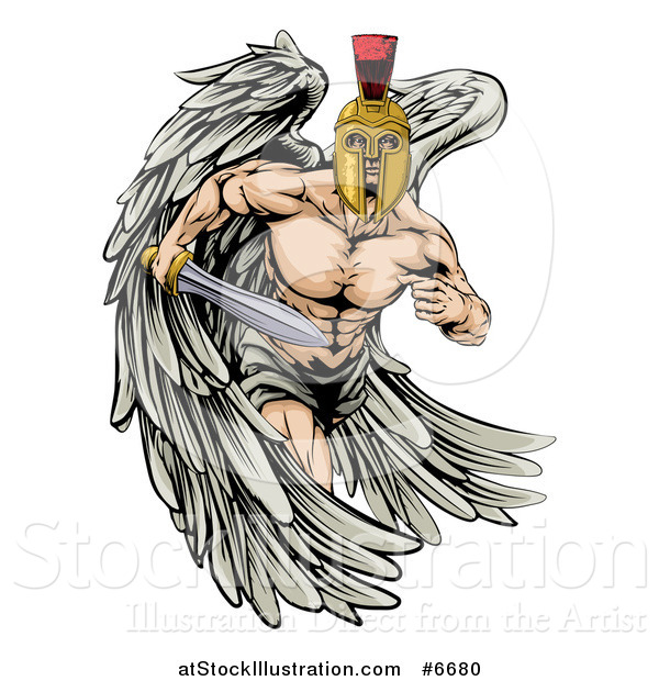 Vector Illustration of a Spartan Trojan Warrior Angel Running with a Sword