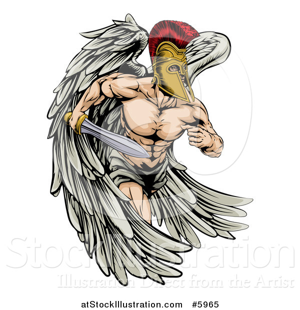Vector Illustration of a Spartan Trojan Warrior Guardian Angel Running with a Sword