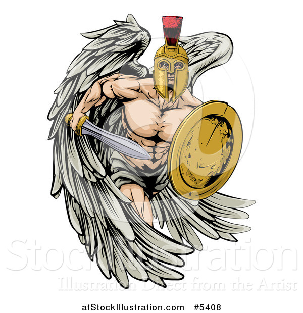 Vector Illustration of a Spartan Trojan Warrior Guardian Angel with a Sword and Shield