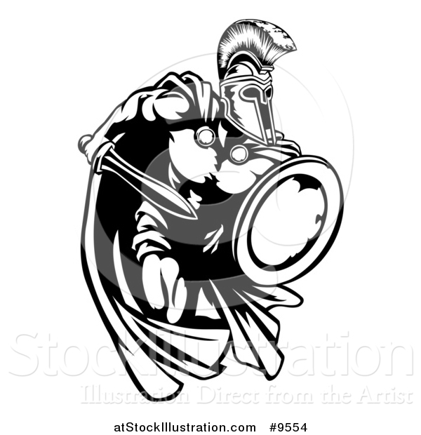 Vector Illustration of a Spartan Warrior Charging Forward with a Sword and Shield - Black and White Mascot Version