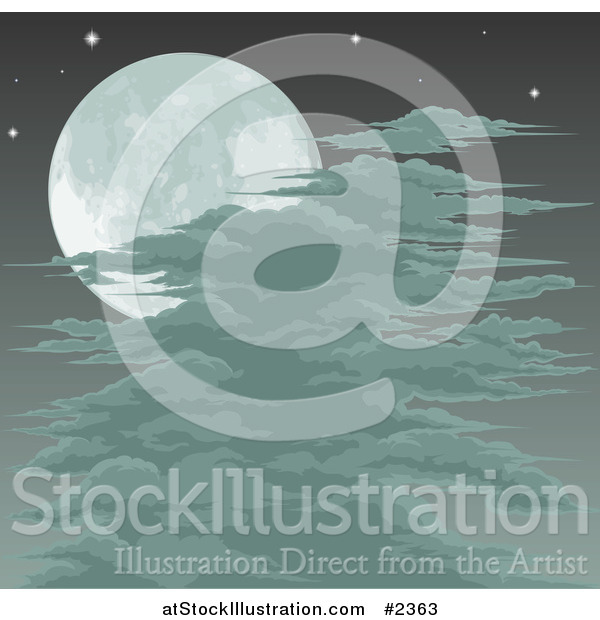 Vector Illustration of a Spooky Full Moon Sky with Clouds or Fog