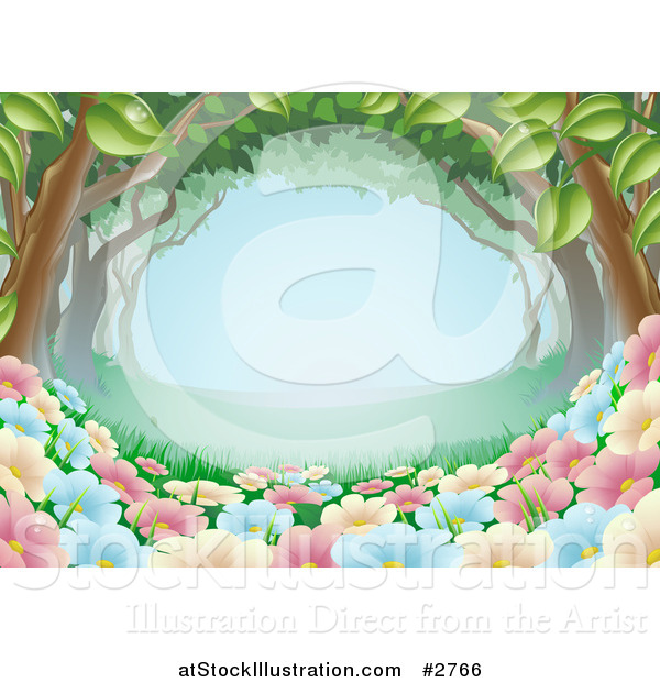 Vector Illustration of a Spring Time Wildlflowers Growing Under a Canopy of Trees