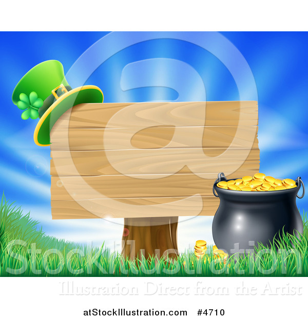 Vector Illustration of a St Patricks Day Leprechaun Hat on a Wooden Sign over Sunshine