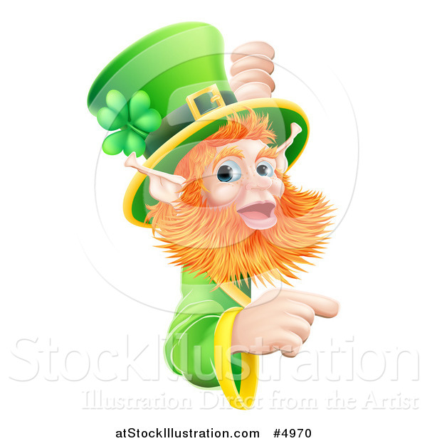 Vector Illustration of a St Patricks Day Leprechaun Looking Around and Pointing to a Sign