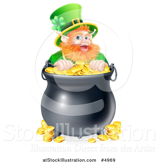 Vector Illustration of a St Patricks Day Leprechaun Looking over a Pot of Gold Coins