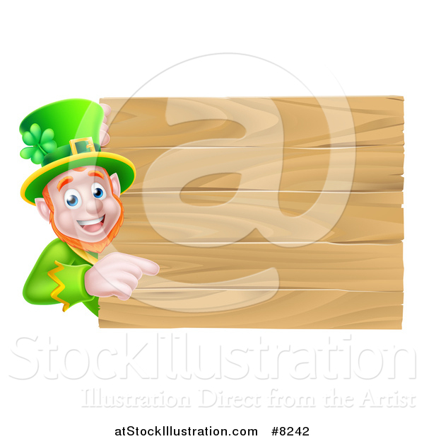 Vector Illustration of a St Patricks Day Leprechaun Pointing Around a Wooden Sign