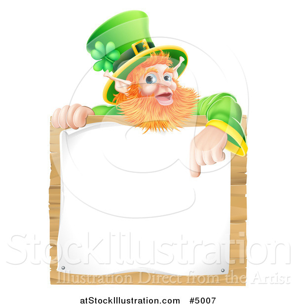 Vector Illustration of a St Patricks Day Leprechaun Pointing down to a Notice on a Wooden Sign