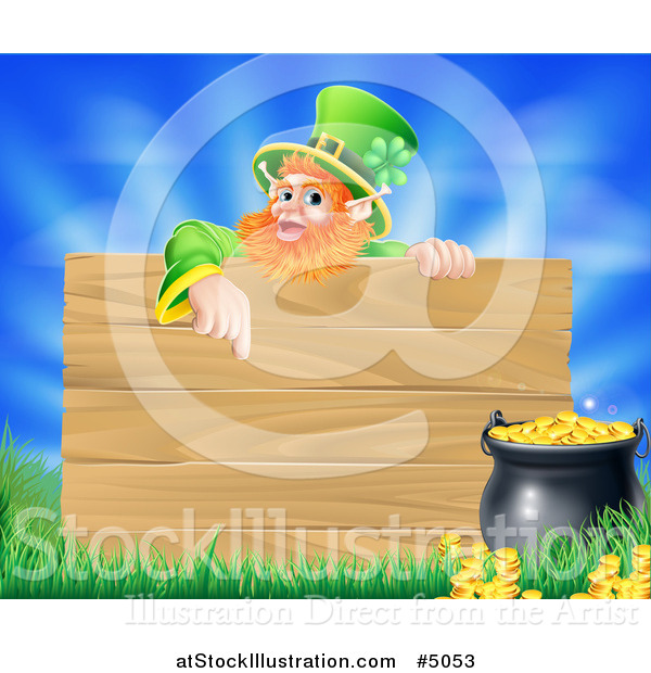 Vector Illustration of a St Patricks Day Leprechaun Pointing down to a Wooden Sign over a Pot of Gold, Grass and Sky