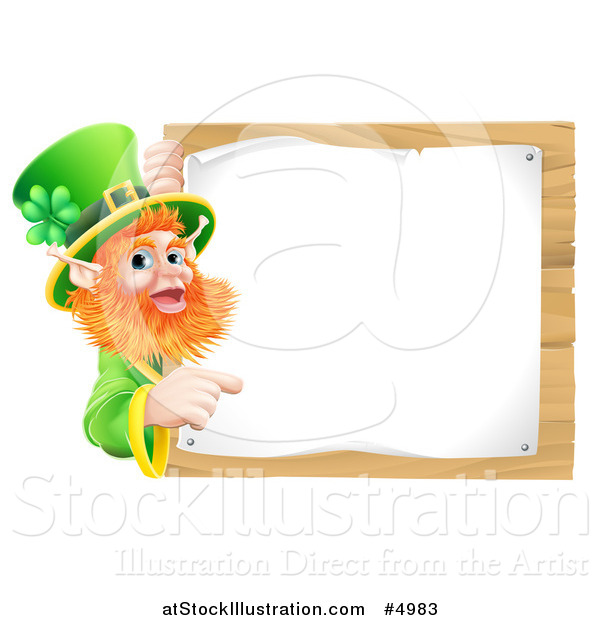 Vector Illustration of a St Patricks Day Leprechaun Pointing to a Notice on a Wooden Sign