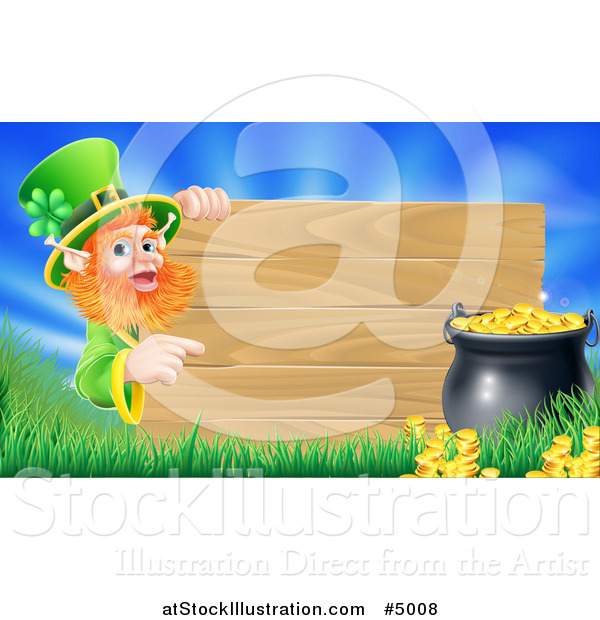 Vector Illustration of a St Patricks Day Leprechaun Pointing to a Wood Sign with Grass a Pot of Gold and Blue Sky
