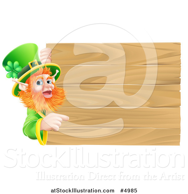 Vector Illustration of a St Patricks Day Leprechaun Pointing to a Wooden Sign
