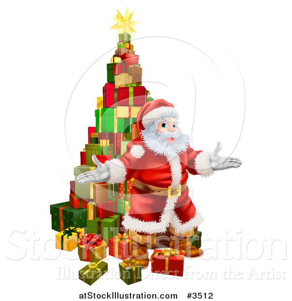 Vector Illustration of a Stack of Presents and Welcoming Santa