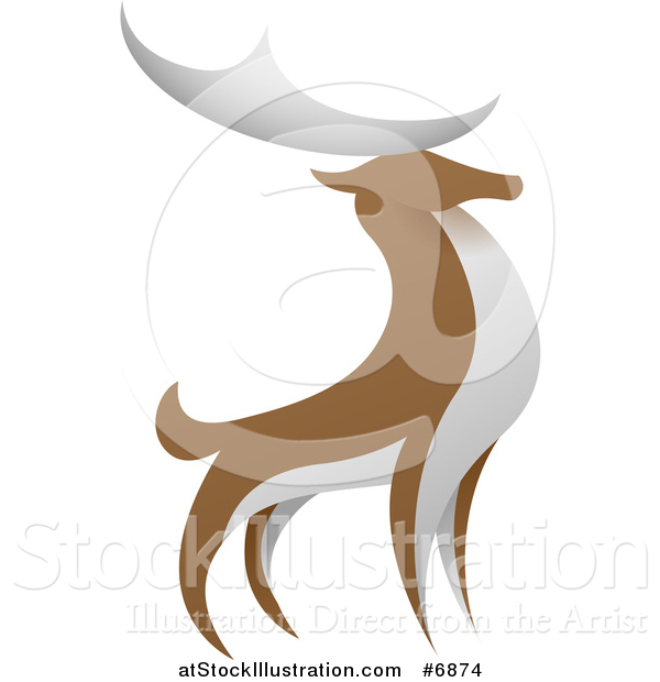 Vector Illustration of a Standing Brown and White Stag Deer Buck