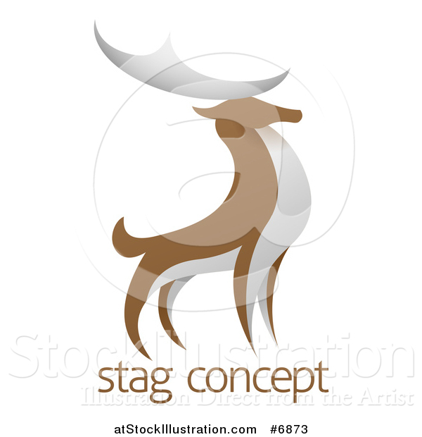 Vector Illustration of a Standing Brown and White Stag Deer Buck over Sample Text