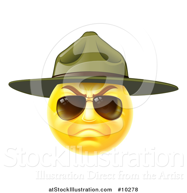 Vector Illustration of a Stern Emoji Smiley Face Emoticon Face Army Drill Sergeant Wearing Sunglasses and a Hat
