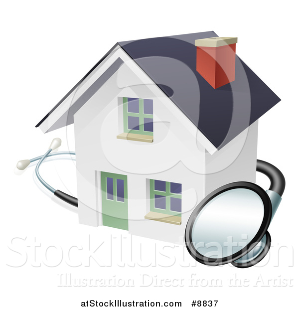 Vector Illustration of a Stethoscope Around a White Home