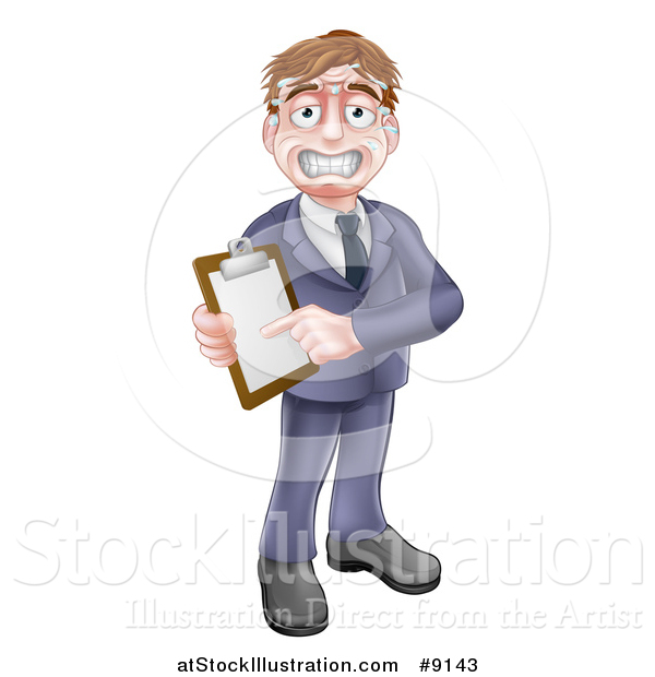 Vector Illustration of a Stressed Sweaty Business or Sales Man Holding and Pointing to a Clipboard