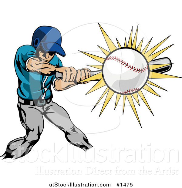 Vector Illustration of a Strong Athletic Caucasian Man in Uniform, Swinging a Bat and Making Contact with a Baseball