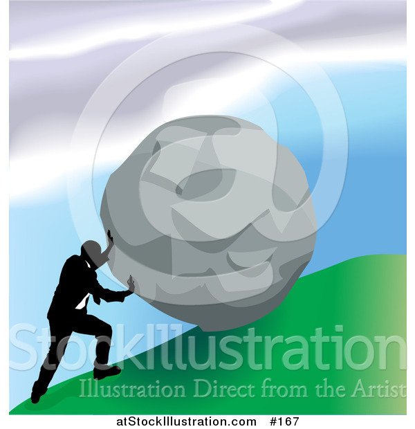 Vector Illustration of a Strong Business Man Pushing a Boulder up a Hill