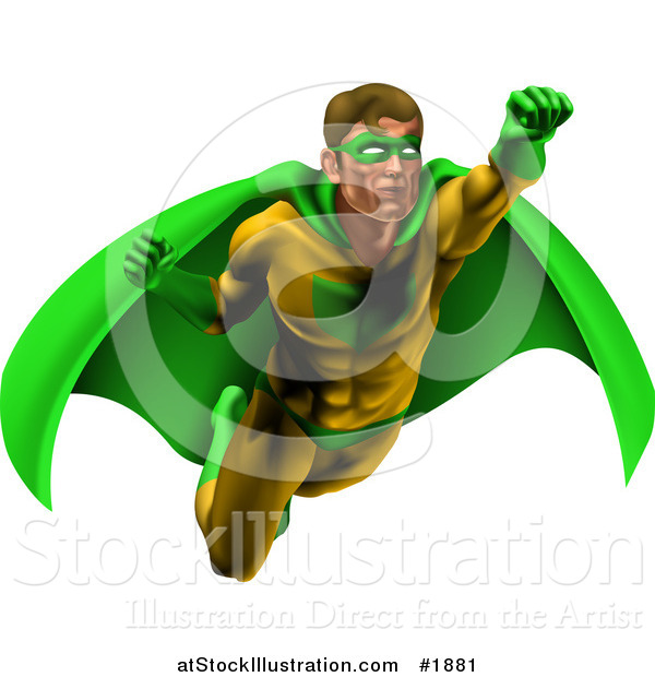 Vector Illustration of a Strong Male Super Hero Flying in a Green and Yellow Suit