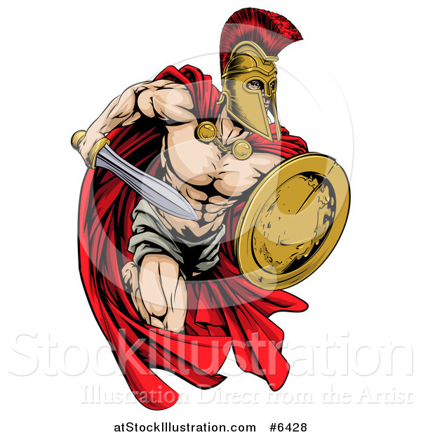 Vector Illustration of a Strong Spartan Trojan Warrior Mascot Running with a Sword and Shield