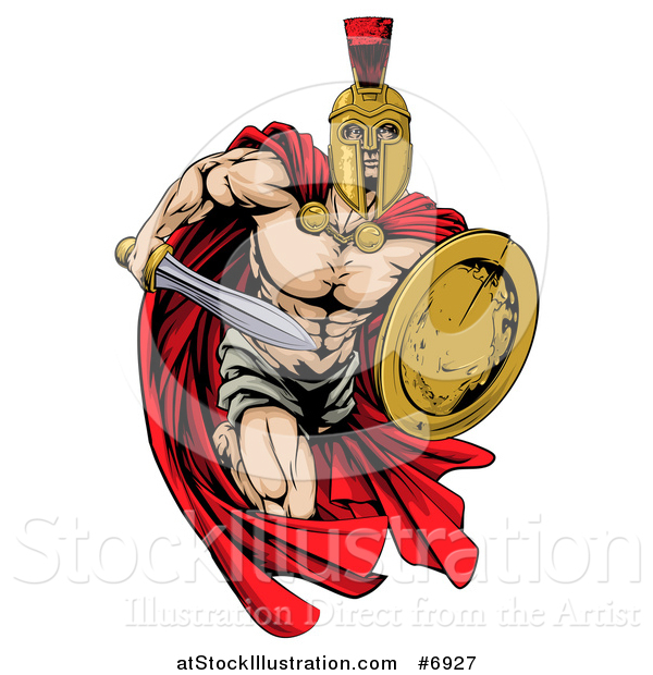 Vector Illustration of a Strong Spartan Trojan Warrior Mascot Sprinting with a Sword and Shield