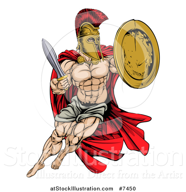 Vector Illustration of a Strong Spartan Trojan Warrior Mascot Wearing a Cape, Jumping with a Sword and Shield