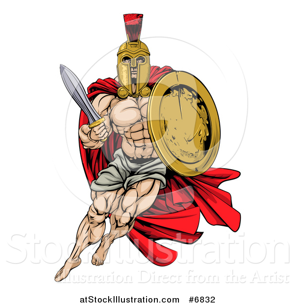 Vector Illustration of a Strong Spartan Trojan Warrior Mascot with a Cape, Running with a Sword and Shield